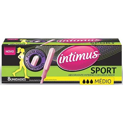 Absorvente interno médio com aplicador 8 unidades Intimus Sport pacote PCT