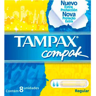 Absorvente Interno Regular 8 unidades Tampax Compak caixa UN