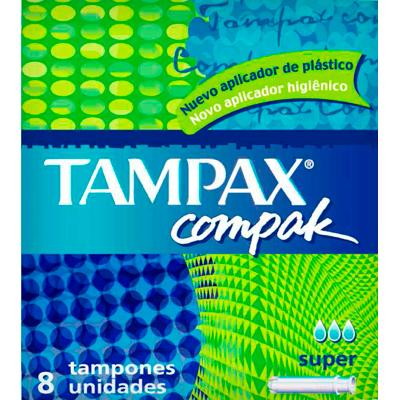Absorvente Interno Super 8 unidades Tampax/Compak caixa UN