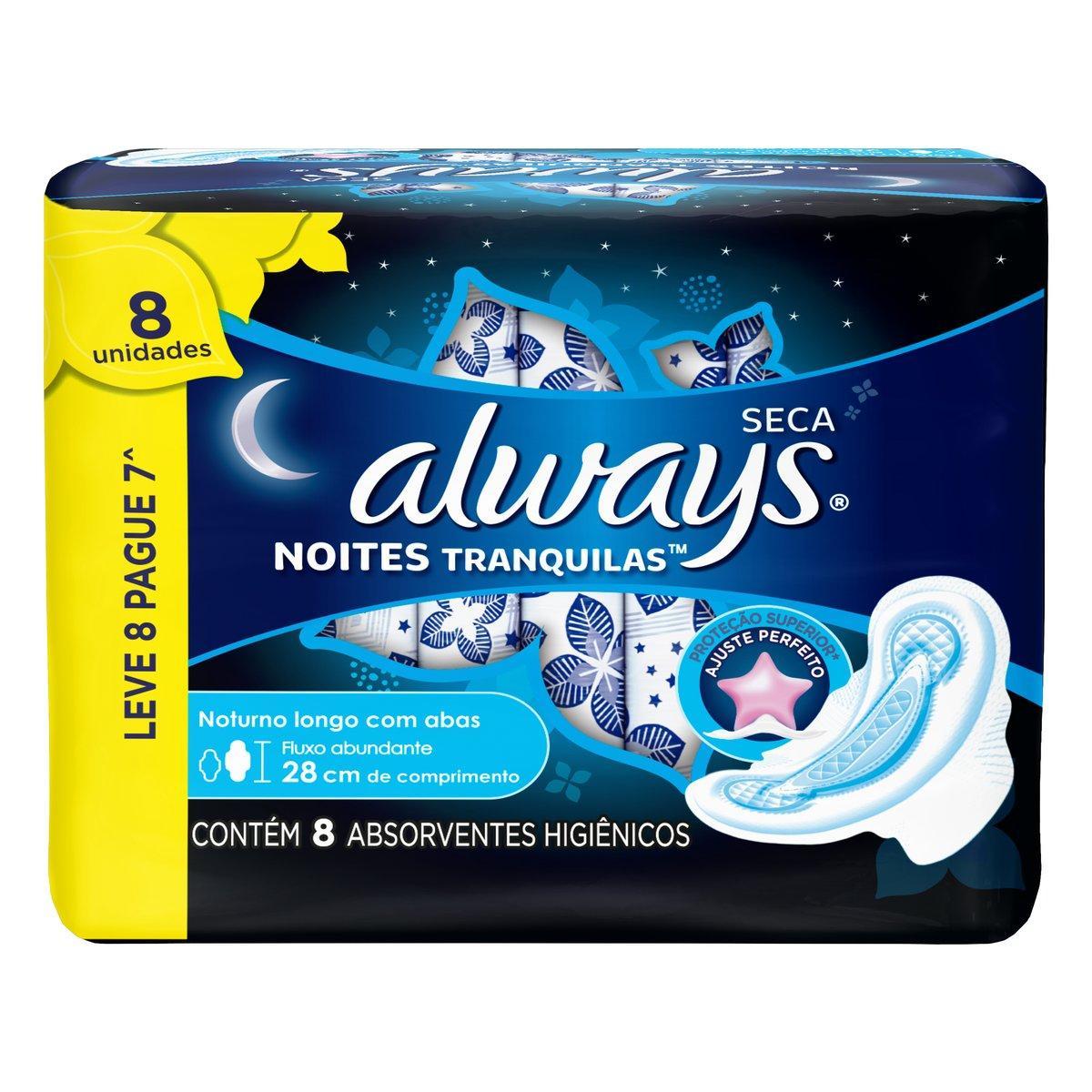 Absorvente Noturno com Abas Cobertura Seca 8 unidades Always Noites Tranquilas pacote PCT