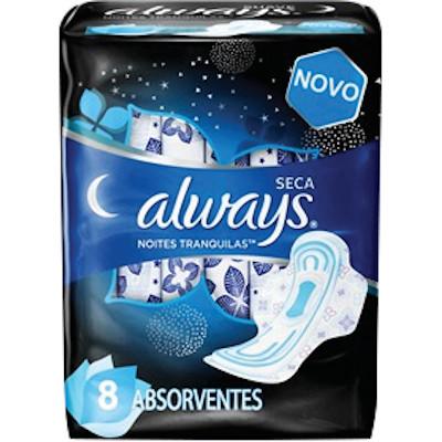 Absorvente noturno com abas cobertura seca 8 unidades Always pacote PCT