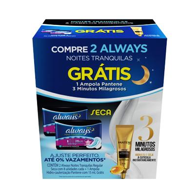 Absorvente Noturno com Abas Cobertura Seca + 1 Ampola Pantene 3min Grátis 2 pacotes com 8 unidades Always kit PCT
