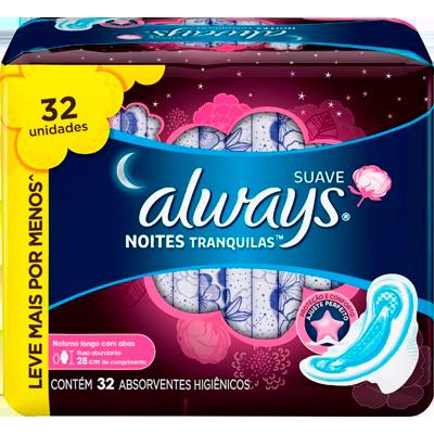 Absorvente noturno com abas proteção total pink 32 unidades Always pacote PCT