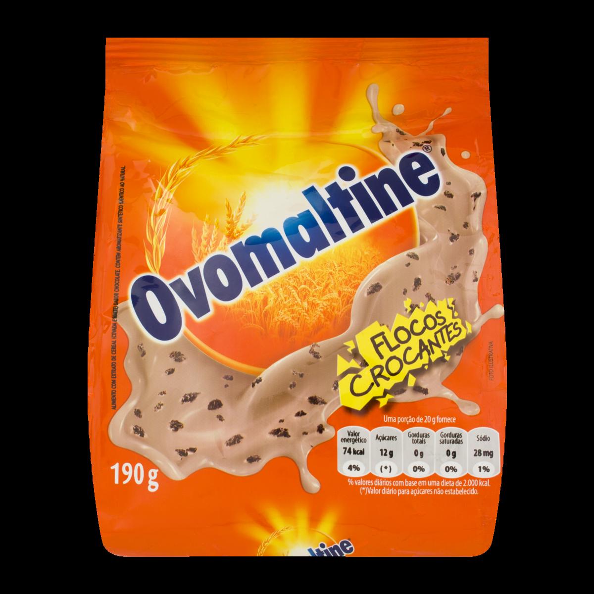 Achocolatado em Pó flocos crocantes 190g Ovomaltine pacote UN
