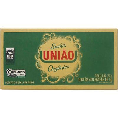 Açúcar Cristal Orgânico 400 unidades de 5g União caixa CX