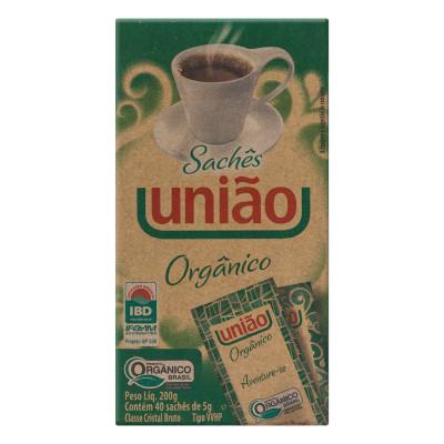 Açúcar cristal orgânico unidades de 5/6g União em sachês UN