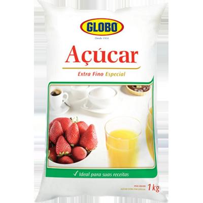Açúcar extra fino 1kg Globo pacote PCT