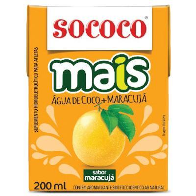 Água de coco com maracujá 200ml Sococo Tetra Pak UN