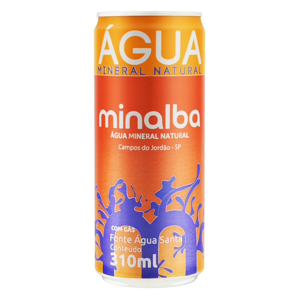 Água Mineral Natural com Gás 310ml Minalba lata UN