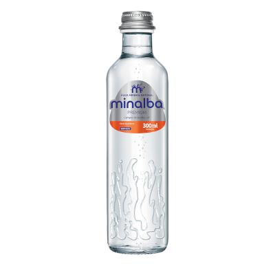 Água mineral natural com gás premium 300ml Minalba garrafa UN