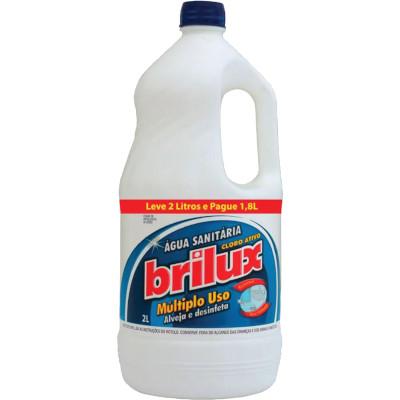 Água Sanitária Leve 2L Pague 1,8L 2Litros   Brilux  frasco FR