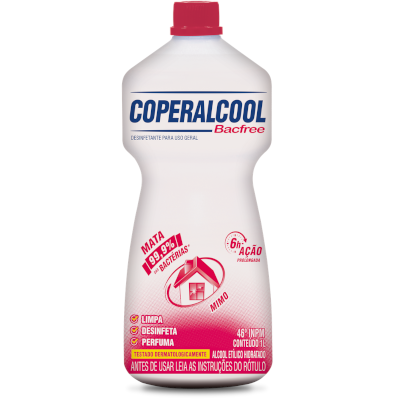 Álcool líquido 46° mimo bacfree 1Litro Coperalcool frasco FR