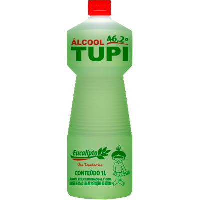 Álcool líquido 46,2° eucalipto 1Litro Tupi frasco FR