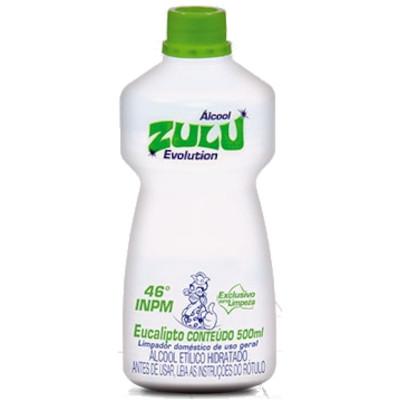 Álcool líquido 46°C eucalipto 500ml Zulu frasco FR