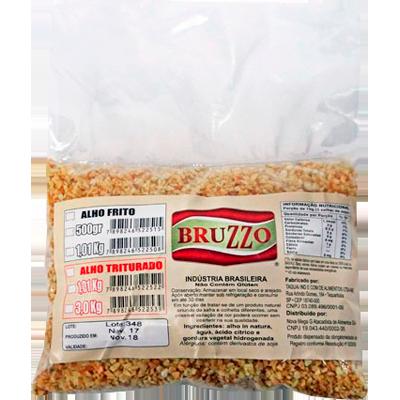 Alho frito em flocos finos pacote de 1kg Bruzzo por Kg KG