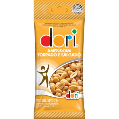 Amendoim torrado, sem pele, levemente salgado 70g Dori pacote PCT
