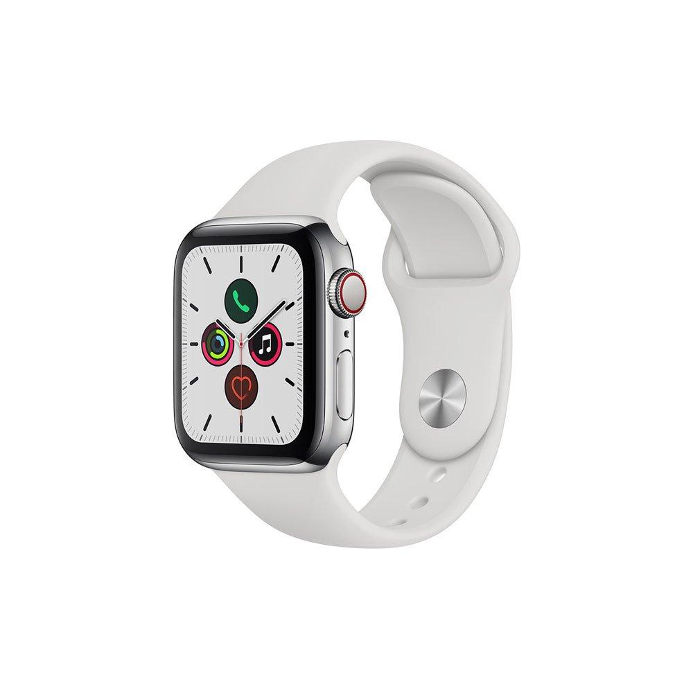 Apple Watch Series 5 (GPS + Cellular) 40mm Caixa de Aço Inoxidável com Pulseira Esportiva Branca unidade Apple  UN