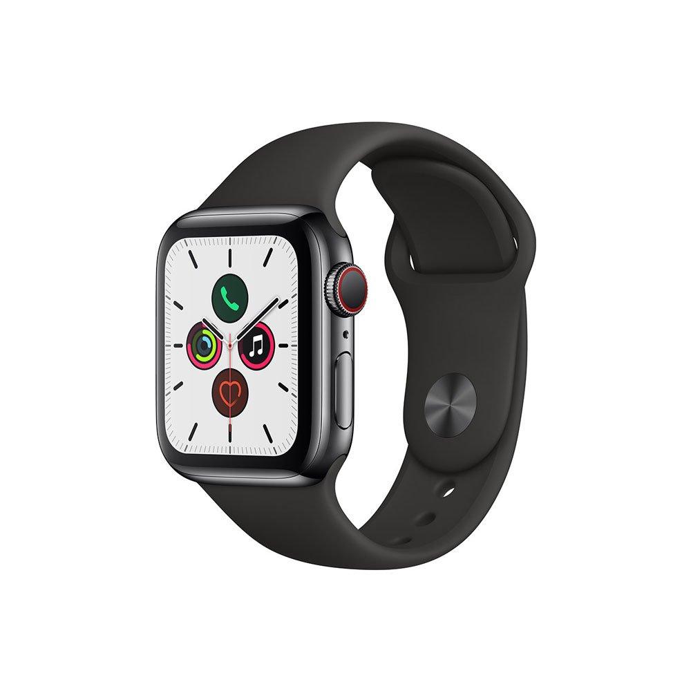 Apple Watch Series 5 (GPS + Cellular) 40mm Caixa de Aço Inoxidável com Pulseira Esportiva Preta unidade Apple  UN