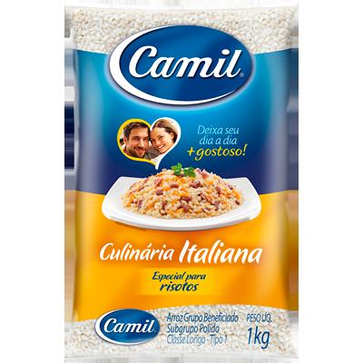 Arroz especial para risotos 1kg Camil/Culinária Italiana pacote PCT
