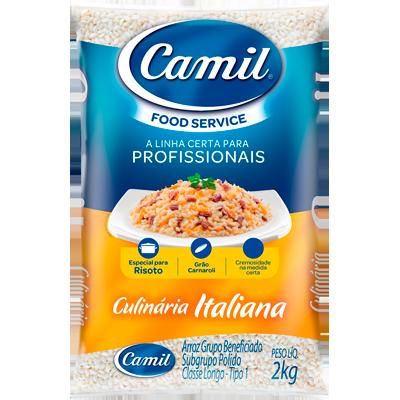 Arroz especial para risotos 2kg Camil/Culinária Italiana pacote PCT