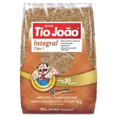 Arroz integral parboilizado 1kg Tio João pacote PCT