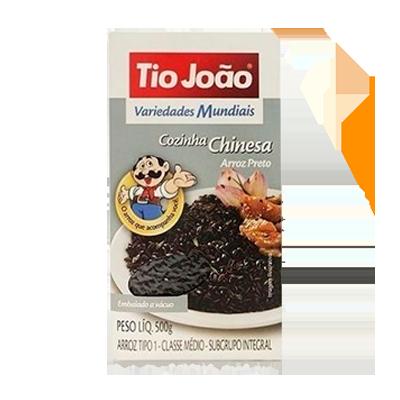 Arroz integral preto (negro) 500g Tio João pacote PCT