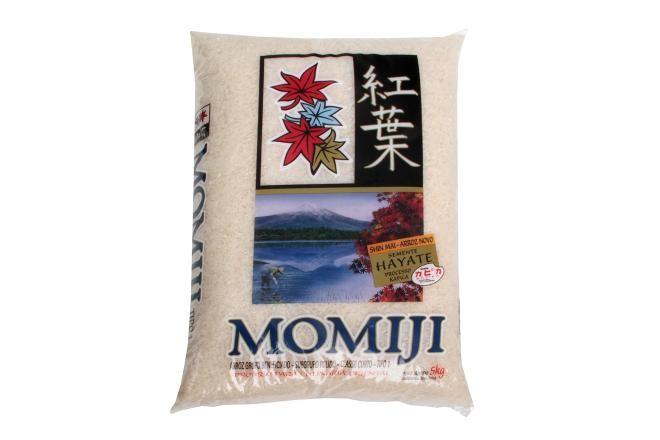 Arroz Japonês grão curto 5kg Momiji pacote PCT