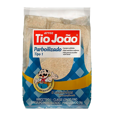 Arroz Parboilizado 1kg Tio João pacote PCT