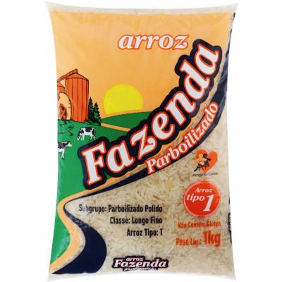Arroz Parbolizado tipo 1 1kg Fazenda pacote PCT
