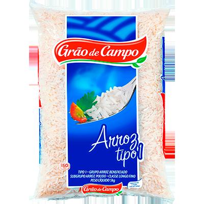 Arroz tipo 1 5kg Grão do Campo pacote PCT