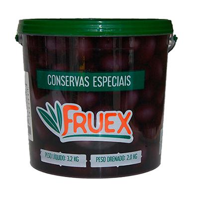 Azeitona Preta Azapa com caroço 90/110 1,8 a 2kg Fruex balde KG