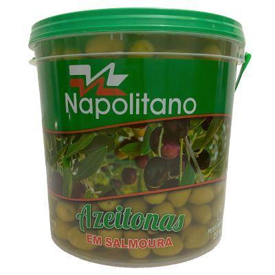 Azeitona Verde Ascolano com caroço 60/80 13 a 15kg Napolitano balde KG