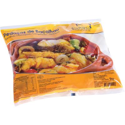 Bacalhau em pedaços dessalgado congelado 1kg Bom Porto pacote PCT
