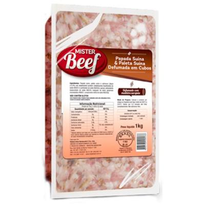 Bacon em cubos 1kg Mister Beef pacote PCT