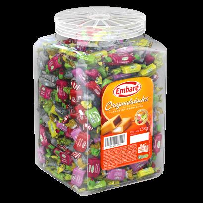 Bala caramelo recheadas sabores 1,5kg Embaré/Originalidades pote POTE