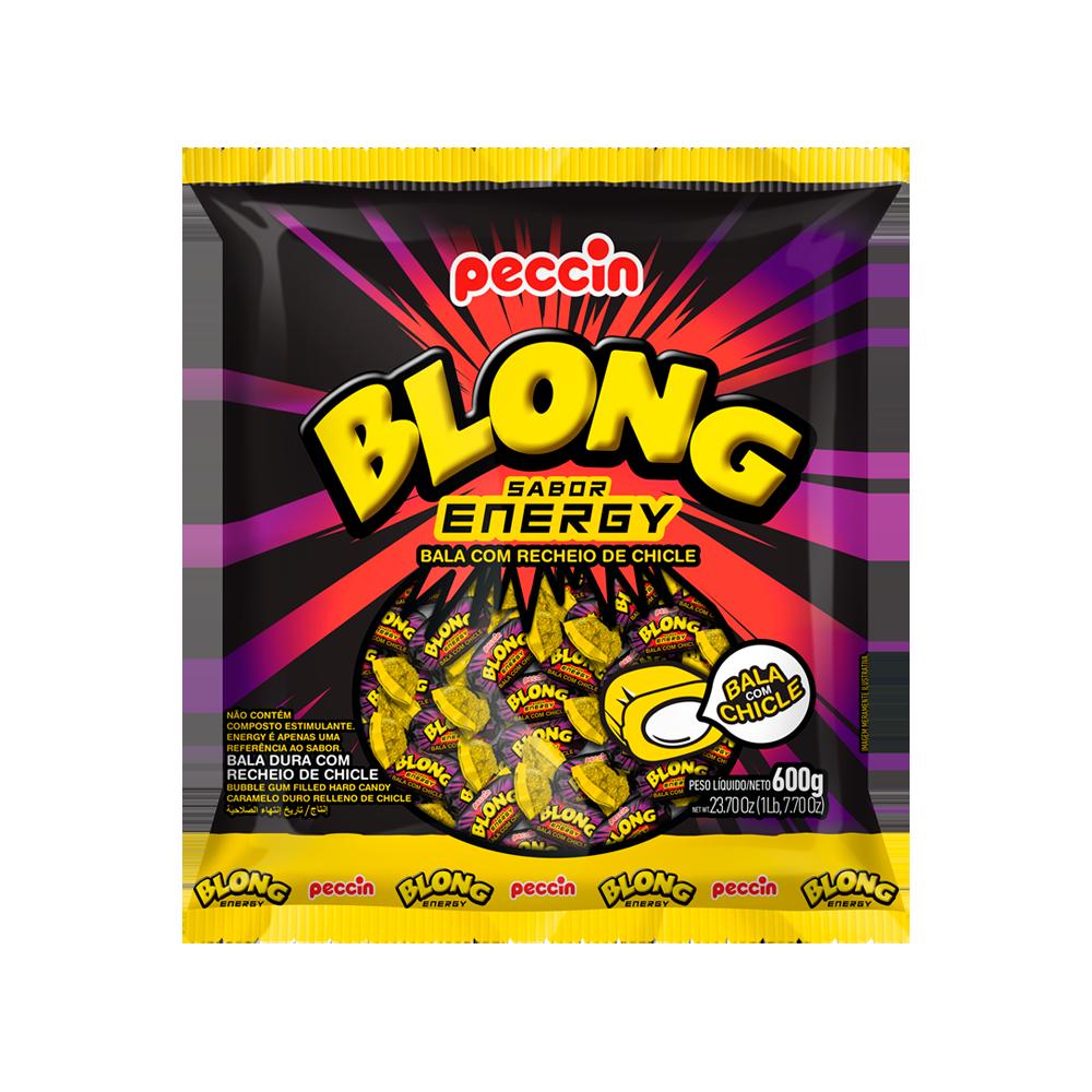 Bala com recheio de chiclete Energy 600g Blong/Peccin pacote PCT