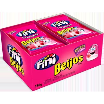 Bala de gelatina 12 unidades de 15g Fini/Beijos caixa CX