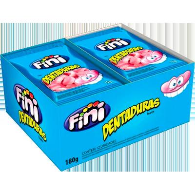 Bala de gelatina 12 unidades de 15g Fini/Dentaduras caixa CX
