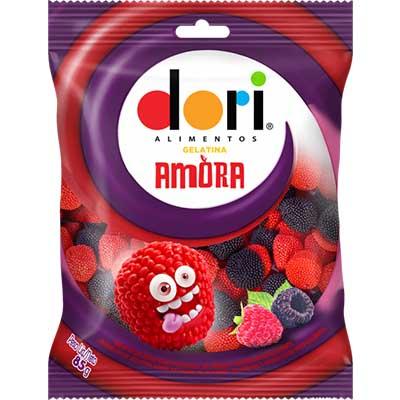Bala de gelatina sabor amora 85g Dori pacote PCT