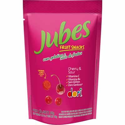 Bala de gelatina sabor cereja azeda 100g Jubes/Dori pacote PCT