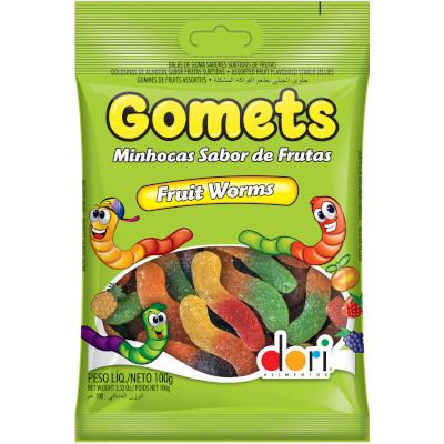 Bala de Goma Minhocas sabor Frutas 100g Dori/Gomets pacote PCT