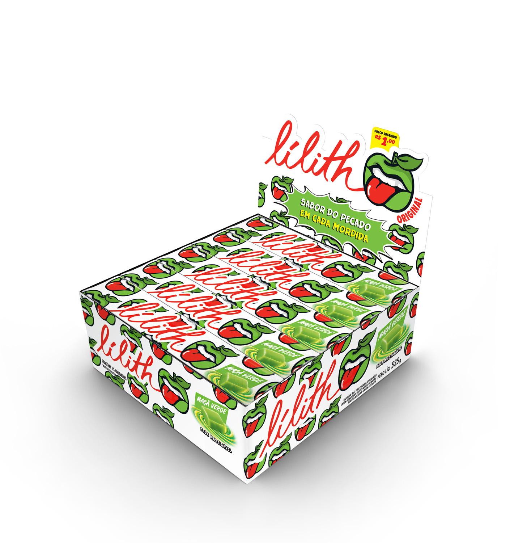 Bala Drops mastigável sabor maça verde 15 unidades Lilith caixa CX