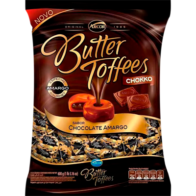 Bala sabor chocolate amargo 600g Arcor/Butter Toffees pacote PCT