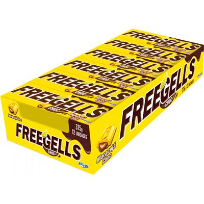 Bala sabor chocolate com maracujá 12 unidades Freegells caixa CX