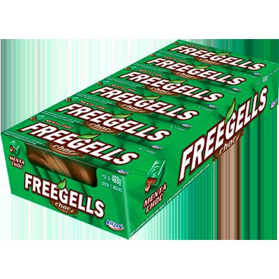 Bala sabor chocolate com menta 12 unidades Freegells caixa CX