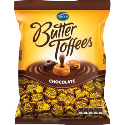 Bala sabor chocolate 500g Arcor/Butter Toffees pacote PCT