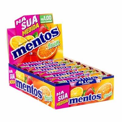 Bala sabor fruit 16 unidades Mentos caixa CX