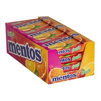 Bala sabor fruit slim box 12 unidades de 32,1g Mentos caixa CX