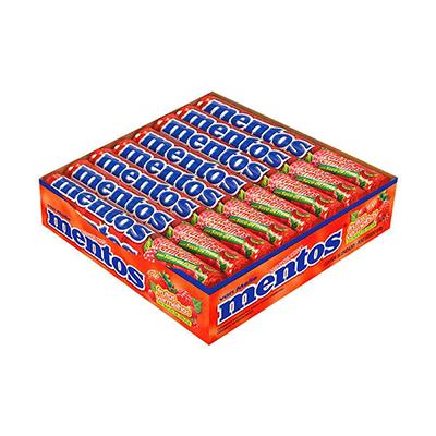 Bala sabor frutas vermelhas 16 unidades Mentos caixa CX