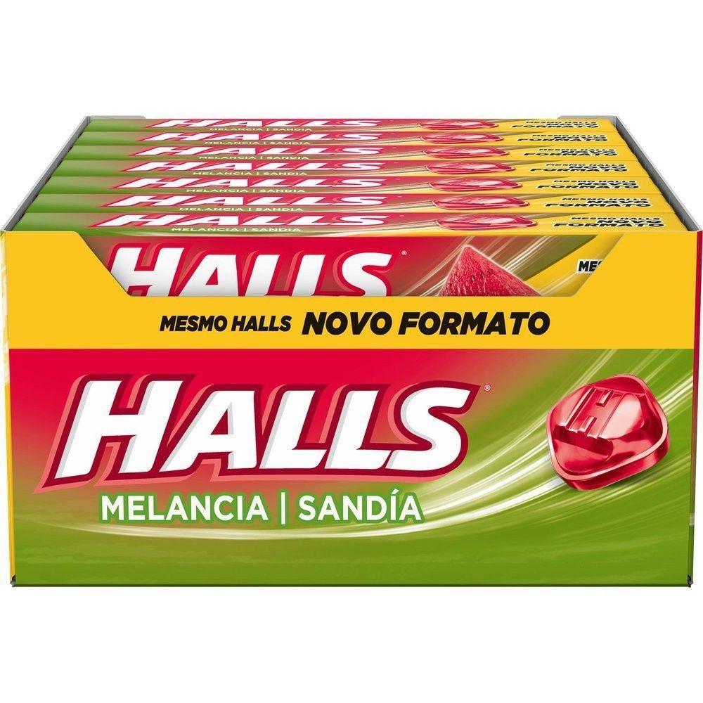 Bala sabor melancia 21 unidades Halls caixa CX